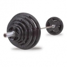 Body-Solid 300 lb Rubber Grip Olympic Plate Set with Bar