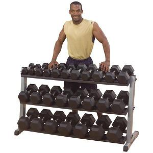 Body-Solid 5-120 lb Rubber Hex Dumbbell Set
