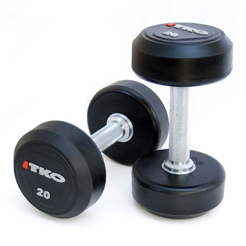 TKO 5-50 lb Solid Steel Urethane Dumbbell Set