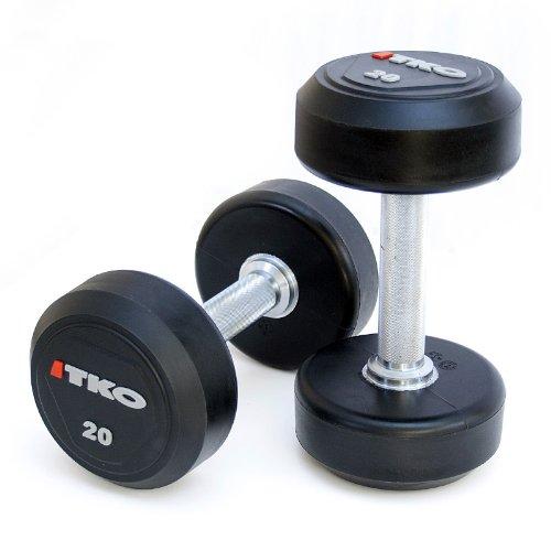 TKO 5-50 lb Solid Steel Urethane Dumbbell Set