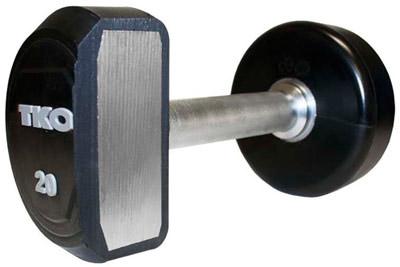 TKO 5-50lb Solid Steel Rubber Dumbbell Set