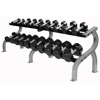 Troy Iron Pro Style Hammertone Dumbbell Set 5-50 HFDC-C Saddle Rack