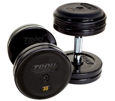 Troy Pro-Style Rubber Dumbbells with Contoured Handles Set 105-120 RUFDC-R