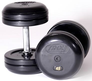 Troy Pro-Style Rubber Dumbbells Set 5-50lb RUFD-R