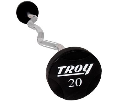 Troy Solid Urethane Round Head Curl Barbell Set 20-110lbs TZB-020-110-US